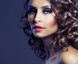 Fashion Beauty Portrait. Healthy Hair. Hairstyle. Holiday Makeup