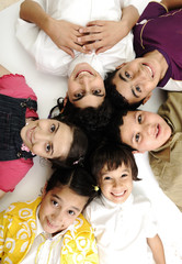 Vertical  photo of children group,  friends smiling