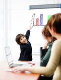 Genius kid on business presentation speaking to adults poster