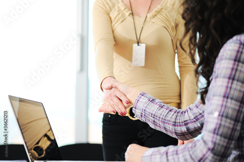 Closing a successful deal with woman  handshake.