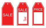 three kind of red sale tags