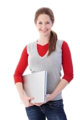 Smiling schoolgirl with laptop
