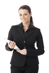 Businesswoman with touchscreen computer