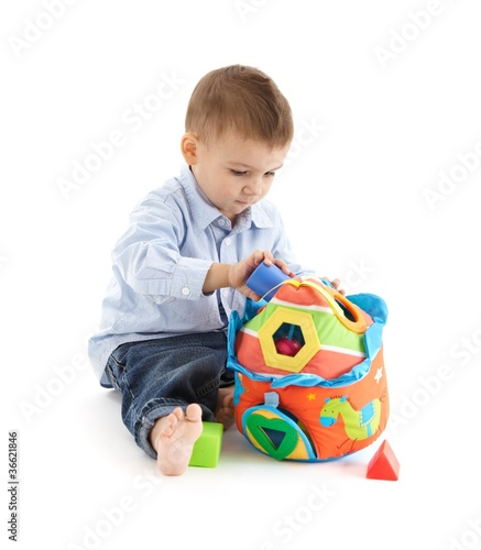 Baby enjoying developmental toy