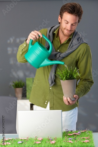Handsome man watering plant at home