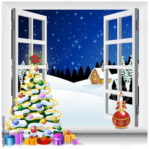 Natale paesaggio finestra aperta window on christmas - Addobbi finestra natale ...