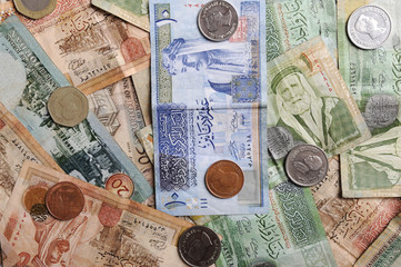 Arabic  banknotes and coins
