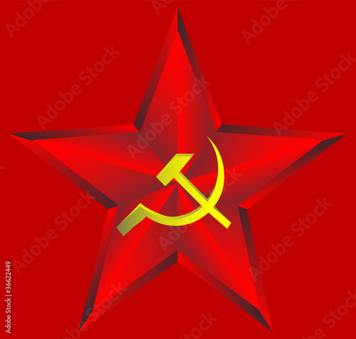 Red star on red background