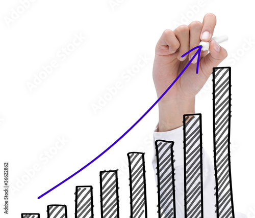 hand drawing growth chart. success business concept
