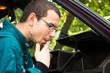 Man smoking in the car