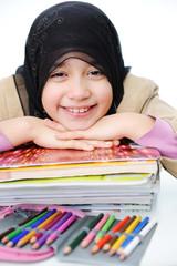 Muslim girl learning, back to school