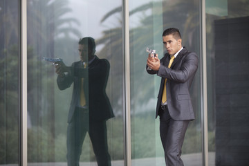 Security Businessman with a handgun