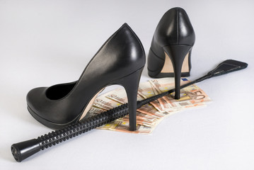 Leather Short Handle Crop, high heels and money.