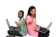 Thumbs up - cute kids on laptops