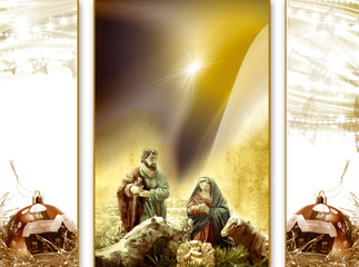 Christmas card greeting, Nativity scene
