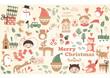 vector, christmas card with nice cartoons