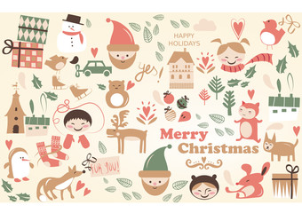 vector, christmas card with nice cartoons