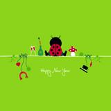 Sitting Ladybug & Symbols New Year´s Eve poster
