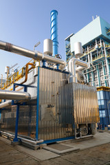 Industrial steam boiler in a power plant