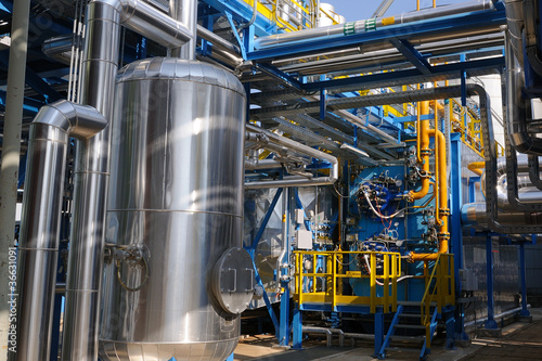 Leinwanddruck Bild Industrial steam boiler in a power plant