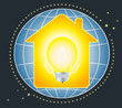 symbol of electricity to house and light bulb on planet
