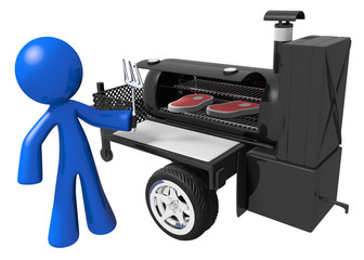 BBQ Smoker Mobile Grill and Man Preparing Food