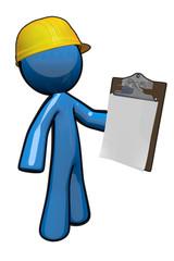 3d Blue Man with Clipboard, a supervisor
