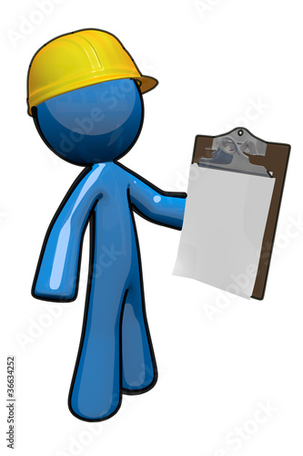 3d Blue Man with Clipboard, a supervisor