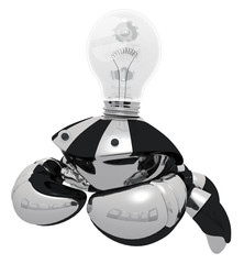 Idea Generator Robot with Light Bulb Classic Light Bulb