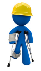 Injured 3d Man with Crutches and Hard Hat, Workplace Safety Conc