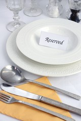 Reserved restaurant table