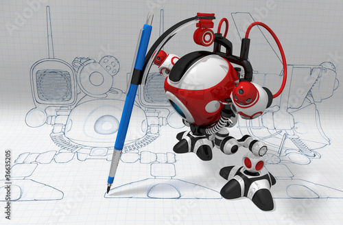Designer Robot with Mechanical Pencil Plotting Plans