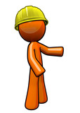 Orange man contractor with hard hat.