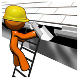 3d Orange Man Roof Worker Working on Gutters poster