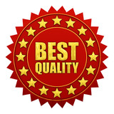 Best quality warranty, red and gold label poster