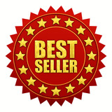 Bestseller warranty, red and gold label poster