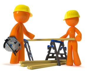 Husband Wife Contractors with Hard Hats