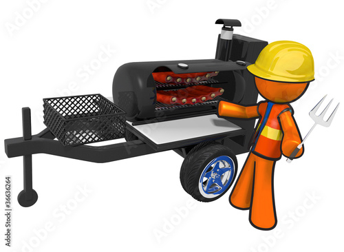Contractor with BBQ Smoker Mobile Grill