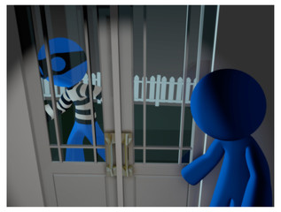 3d Blue Man thief ready to break in and steal.