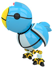 Little Blue Social Network Marketing Bird Robot Character Side V
