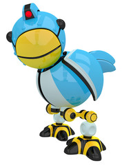 Little Blue Social Network Marketing Bird Robot Character