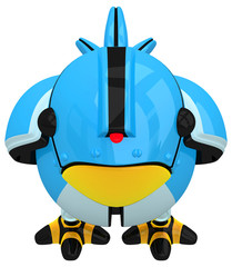 Little Blue Social Network Marketing Bird Robot Character Front