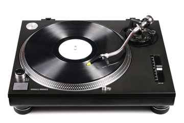 dj turntable with needle on vinyl record isolated on white