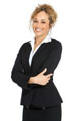 Junge Businessfrau präsentiert