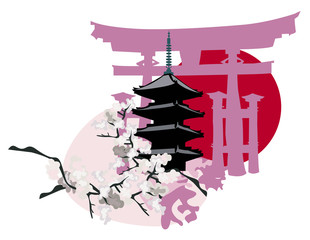 Pagoda and Torii Gate