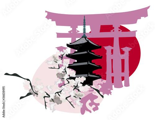Pagoda and Torii Gate - 36638495