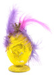 Royal easter decoration, yellow egg with feathers and gold crown