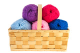 Wool for needlework in basket poster