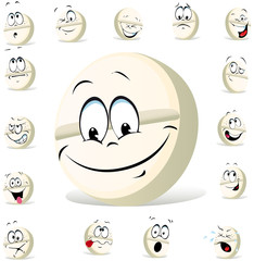 pill character with many expressions isolated