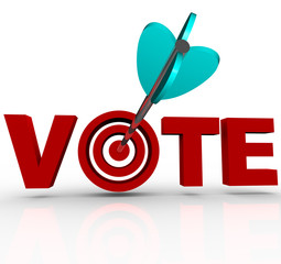 Vote Arrow in Word 3D Targeting Voters Election